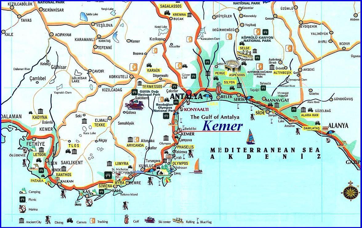 достопримечательности Анталии Турция с фото на карте
