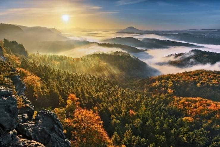 Туман в горах Чехии