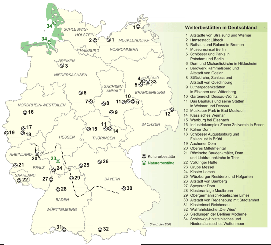 Карта объектов Всемирного наследия ЮНЕСКО на территории Германии